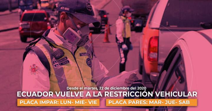 Ecuador vuelve a la restricción vehicular.