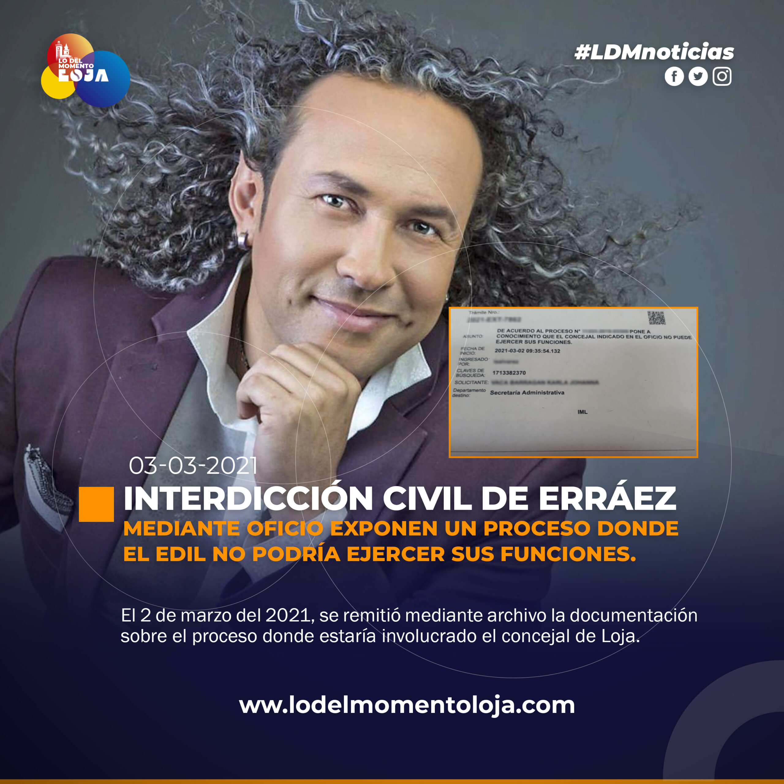 EXPONEN INTERDICCIÓN CIVIL DE SANTIAGO ERRÁEZ
