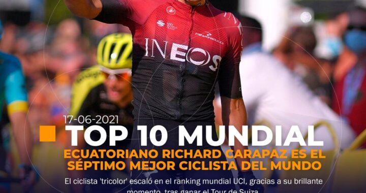 Carapaz en el TOP TEN del ciclismo mundial