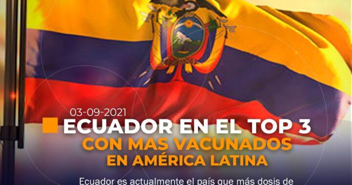 Ecuador en el TOP 3 con más vacunados de América