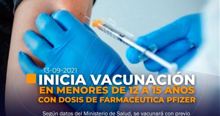Inicia vacunación contra COVID-19 en menores de 12 a 15 años
