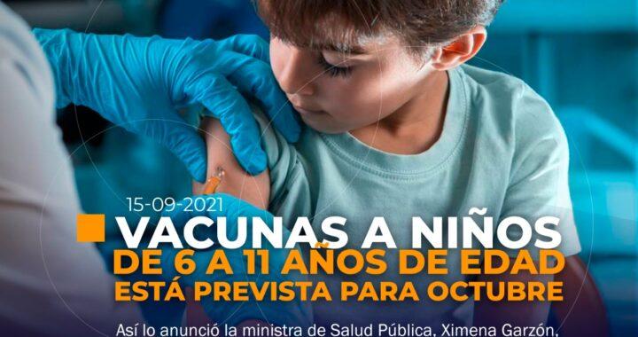 Vacunas para niños de 6 a 11 años en Ecuador