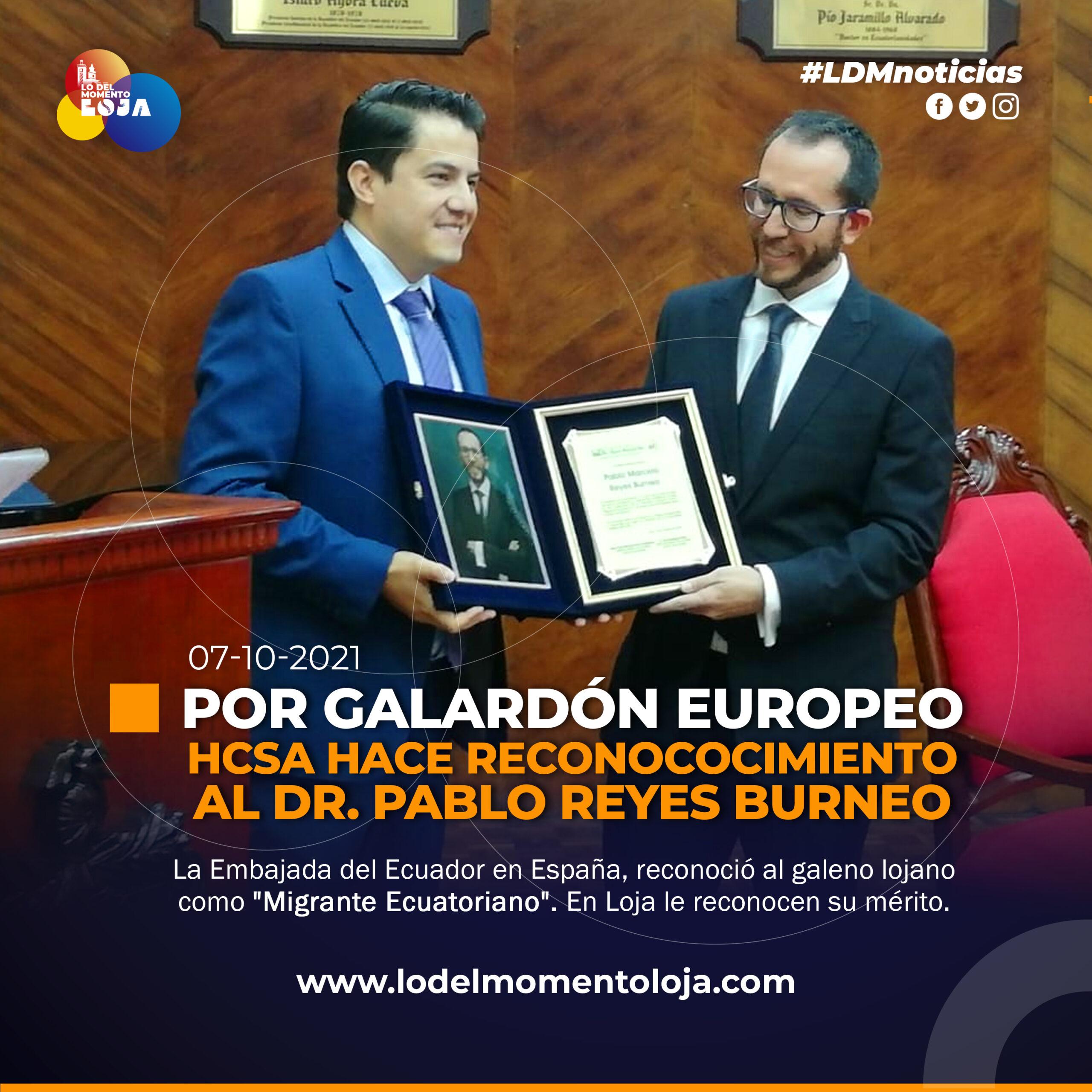 HCSA reconoce al galeno Pablo Reyes
