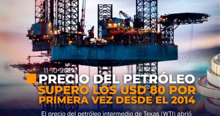 Petróleo sobrepasa los USD 80